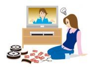 テレビ録画の編集にうんざりする若い女性のイラスト
