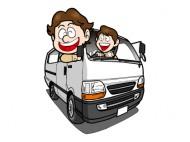 1BOXカーから顔を出す若者のイラスト